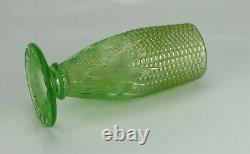 Antique Northwood Lime Green Carnival Glass Corn Vase with Stalk Base Stunning