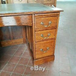 Antique Oak Panelled Bankers/pedestal Desk With Green Leather Top (well Sized)