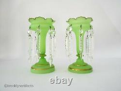 Antique Pair of French Opaline Green Art Glass & Gold Gilt Lustre Vases