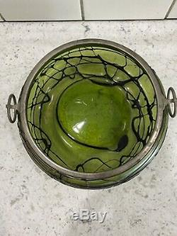 Antique Pallme Konig Bohemian Threaded Iridescent Green Glass Bowl Spoon Fork