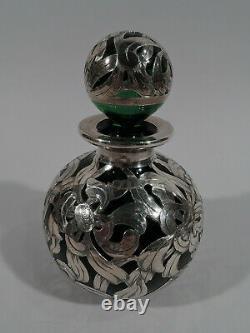 Antique Perfume 46 Art Nouveau Bottle American Green Glass Silver Overlay