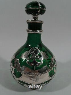 Antique Perfume Big Art Nouveau Bottle American Green Glass & Silver Overlay