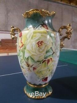Antique Porcelain Hand Painted Floral Vase Dresden German Large Vase 13
