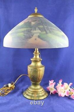 Antique Reverse Painted Pittsburg Waterfall Landscape Table Lamp 22 1/2 Tall