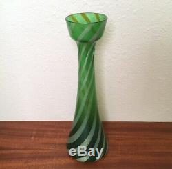 Antique Rindskopf Glass Green Spiral Vase, Bohemian Art Nouveau Loetz Kralik Era