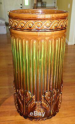 Antique Roseville Art Pottery Umbrella Stand Brown Green Blended Glaze 21 #734