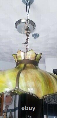 Antique Slag Glass Tiffany Style Tulip Large Chandelier Hanging Lamp