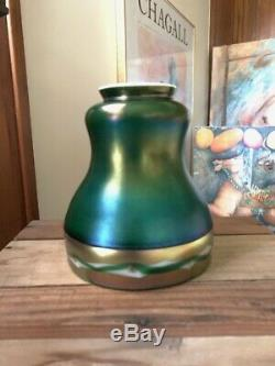 Antique Steuben Art Nouveau Glass Shade Carder Era Green Aurene Intarsia Border