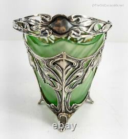 Antique Swedish 830 Sterling Silver Art Nouveau Basket Green Glass Insert