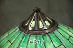 Antique Table Lamp Leaded Glass Shade Green Geometric Bronze Base Handel