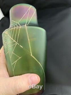 Antique UnSigned LOETZ Iridescent Spiderweb Vase Green Art Glass Spider Web