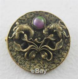 Antique Unsigned Art Nouveau Pin Brooch Pendant Dragon Purple Green Needs Repair
