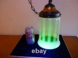 Antique Uranium Opalescent Vaseline Green Glass Light Shade Art Deco Art Nouveau