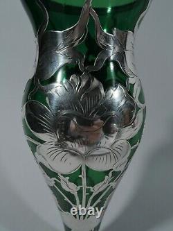 Antique Vase Art Nouveau American Green Glass & Silver Overlay