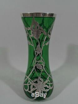 Antique Vase Art Nouveau Flowers American Green Glass & Silver Overlay