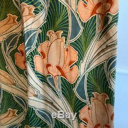 Antique Velveteen Curtain Art Nouveau Design Rare Rich Green Tones 1 of Set 1900