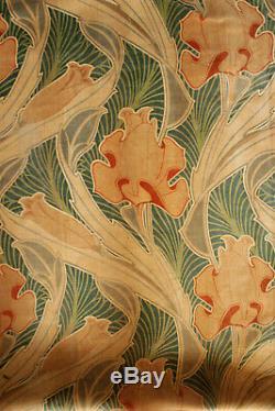 Antique Velvetine Curtain Art Nouveau Design Rare Rich Green Tones 1 of Set 1900