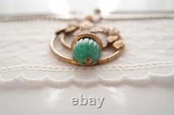 Antique Victorian Art Nouveau Acorn Necklace Gilt Brass Green Bohemian Glass
