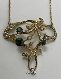 Antique Victorian Edwardian Art Nouveau 14k Gold Green Tourmaline Pearl Necklace