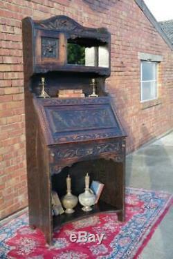 Antique Victorian Green Man Carved Oak Bureau Bookcase Stunning Piece Neo Gothic