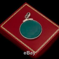 Antique Vintage Art Deco Sterling Silver 55.0 Cts Green Onyx Necklace Pendant