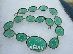 Antique Vintage Art Nouveau Deco Czech Chinese Jade Green GLASS Flower NECKLACE