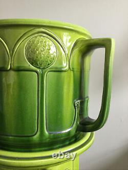 Antique Vintage Bretby Art Nouveau Deco Green Pottery Jardiniere & stand Reg1908