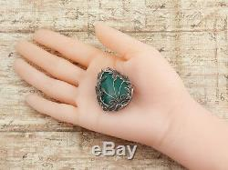 Antique Vintage Deco Sterling Silver 65.94 Ct Green Onyx Leaf Pin Brooch Pendant