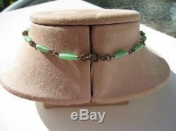 Antique Vtg. Brass Bronze Metal Celedon Green Glass Art Nouveau Lavalier Necklace