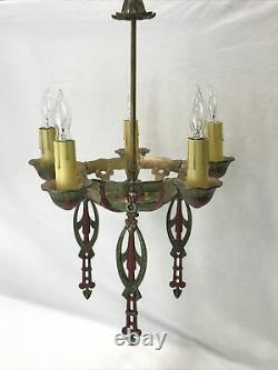 Antique Vtg Chandelier Art Deco Nouveau Hanging Light 1920s Gold Red Green 5-Arm
