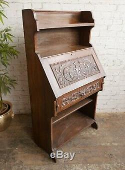 Antique Vtg Green Man Oak Student Bureau Workstation Bookcase Writing Table Desk