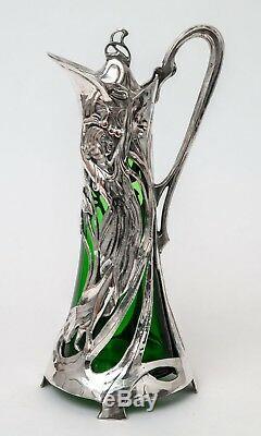Antique WMF Warszawa Silver Plated Art Nouveau Large Green Glass Claret Jug