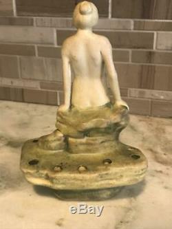 Antique Weller Pottery Muskota Leda Nude Bathing Beauty Flower Frog