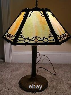 Antique Working 1920's Miller Art Nouveau Green Marble Slag Glass Table Lamp 235