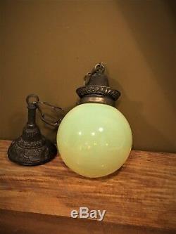 Antique c1910 Vaseline Glass Light Shade Pendant Chandelier VTG URANIUM Fixture