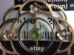 Antique c. 1920s 9Ct Rose Gold Art Nouveau Pendant withPeridot & Seed Pearls HM 9Ct