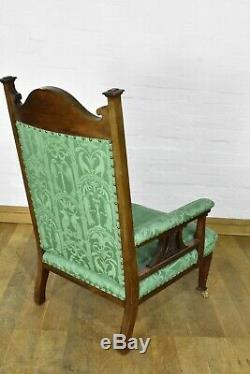 Antique carved ART NOUVEAU Pair of fireside armchairs