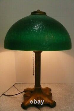 Antq Art Nouveau Pilabrasgo Pittsburgh Student Lamp Green Textured Glass Shade