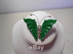 Apple green jade butterfly brooch /dia. 18kt W gold