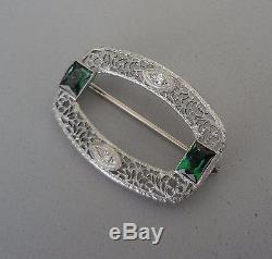 Art Deco 14k White Gold Filigree Green Tourmaline & Diamond Pin Brooch 4.3 Gr
