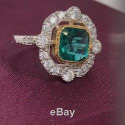 Art Deco 2.40Ct Green Cut Asscher Diamond 14K Gold Over Wedding Anniversary Ring