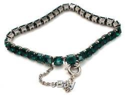 Art Deco Bracelet Emerald Green Paste Rhinestones Sterling Silver 7 Antique