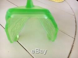 Art Deco Markel Vaseline Glass Green Antique Slip Shade Fixture Sconce Chandelie