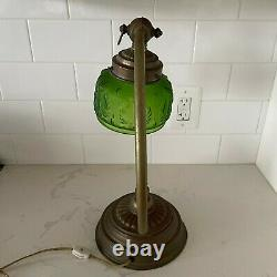 Art Deco gooseneck desk lamp Green Glass shade Art Nouveau Electric Vintage