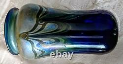 Art Glass Talitha Horne 83 Colbalt Blue withGreen Pulled Feather Design, Nice
