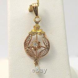 Art Nouveau 10K Rose & Green Gold Diamond Pearl Dangle Charm Pendant 1.1gr