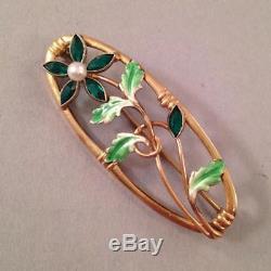 Art Nouveau 10k Gold Floral Pin Enamel Green Stones & Pearl