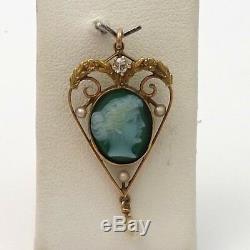 Art Nouveau 10k Green Agate Cameo Seed Pearl Mine Cut Diamond Charm Pendant 2.1g