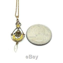 Art Nouveau 14K Rose & Green Gold Seed Pearl Pendant Dangle Necklace 16