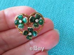 Art Nouveau 14k Gold Green Enamel & Diamond Flower Brooch -pendant